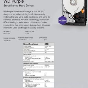 **New** Western Digital WD30PURX 3TB 5400 RPM 64MB SATA 6.0Gb/s 3.5″ HD 1